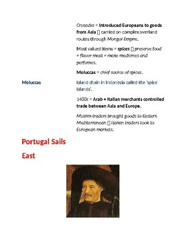 Cornell Style Lecture Notes (The Search For Spices) World History