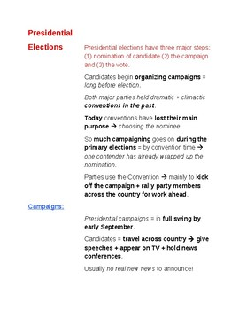 Cornell Notes (Voting and Elections) Election Campaigns