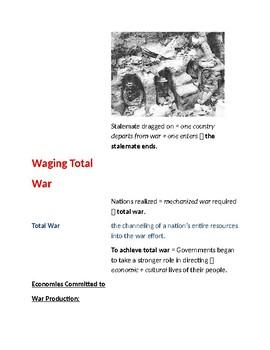 Cornell Notes (Winning the War) World War 1 (WWI)