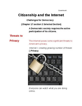 Cornell Notes (Citizenship and the Internet) Challenges to Democracy