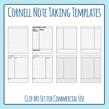 Cornell Style Note Taking Templates Clip Art Set for Commercial Use