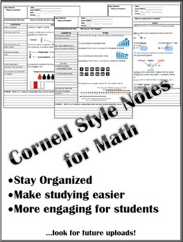 Cornell Style Notes for 6th Grade Mathematics