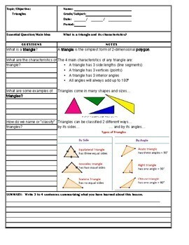 Cornell Style Notes for 6th Grade Mathematics - Triangles