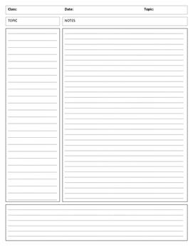 Cornell notes sheet