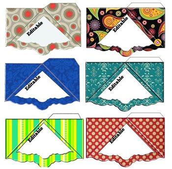 Corner Bookmarks for Teachers and Student Notebooks- Editable!