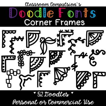 Doodle Fonts Corner Frames (for Personal or Commercial Use)