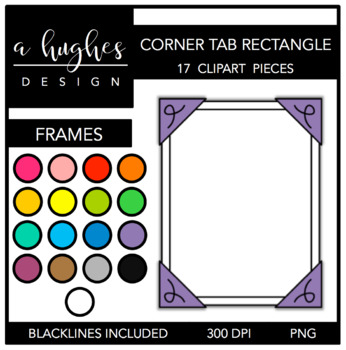 Corner Tab Rectangle Frames {Graphics for Commercial Use}