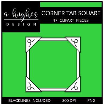 Corner Tab Square Frames Clipart {A Hughes Design}