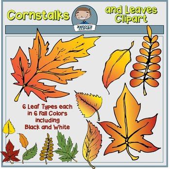 Cornstalks and Leaves Clipart