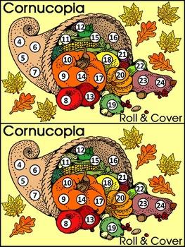 Fall Activities: Fall Harvest Cornucopia Roll & Cover Math Activity