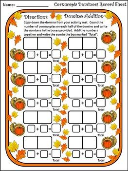 Fall Activities: Cornucopia Fall Dominoes Math Activity Bundle - Color&BW