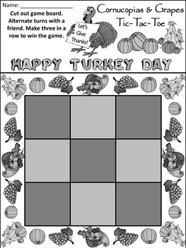 Cornucopia Activities:Cornucopias & Grapes Fall-Thanksgiving Tic-Tac-Toe Game
