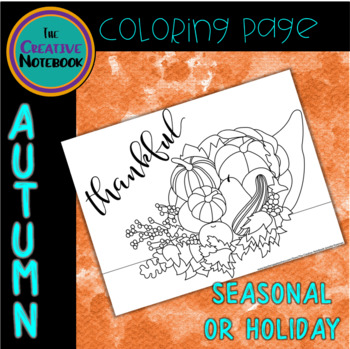 Cornucopia Coloring Page | Autumn, Thanksgiving Activities | Adult Coloring Page