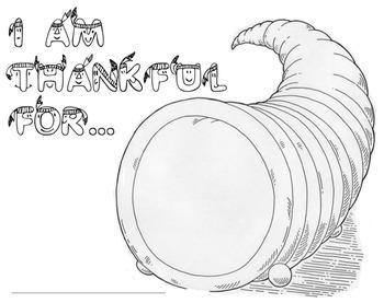Cornucopia: I Am Thankful For... Printable