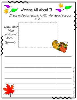 Cornucopia Reading and Response Activity for Thanksgiving