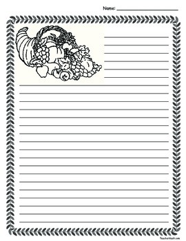 Cornucopia Thanksgiving Lined Paper