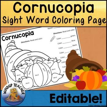 Cornucopia themed Sight Word Activity Sheet *Editable*
