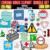 Corona Virus (covid-19) colourful clip art set
