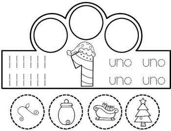 Coronas de Numeros:  Christmas Spanish Number Crowns