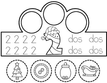 Coronas de Numeros:  Christmas Spanish Number Crowns