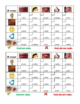 Corpo (Body in Portuguese) Grid vocabulary activity
