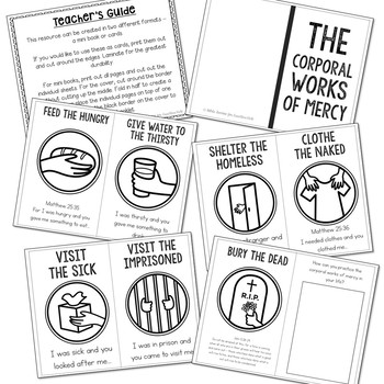 Corporal Works of Mercy Posters, Coloring Pages, and Mini Book Set, Catholic