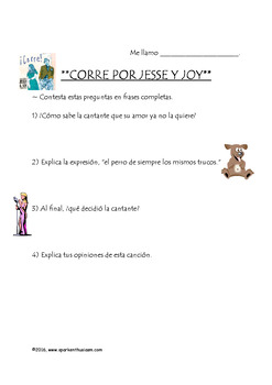 Corre Song Activity in Spanish