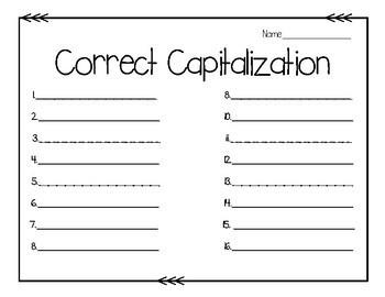Correct Capitalization Task Cards