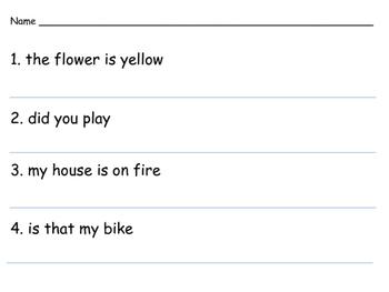 Correct Each Sentence - Kindergarten, 1st Grade