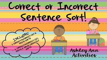 Correct & Incorrect Sentence Sorts!