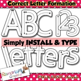 Alphabet Tracing letters: correct letter formation font clip art