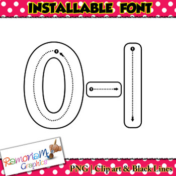 Alphabet Tracing letters font INSTALLABLE correct writing letter formation fonts