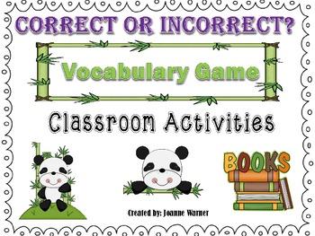 Correct Or Incorrect Context Clues Vocabulary Game