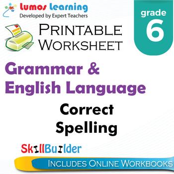 Correct Spelling Printable Worksheet, Grade 6