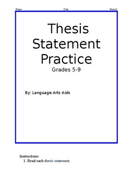Correct The Thesis Statement Worksheet by Language Arts Aids | TpT