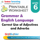 Correct Use of Adjectives and Adverbs Printable Worksheet, Grade 6