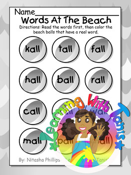 Correct Words and Ending Sounds Beachball Freebie