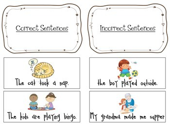 Correct and Incorrect Sentence Sort RF1a features of a sentence