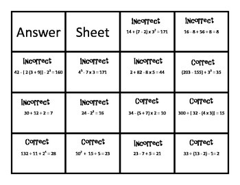 Correct or Incorrect Sort and Solve - Order of Operations