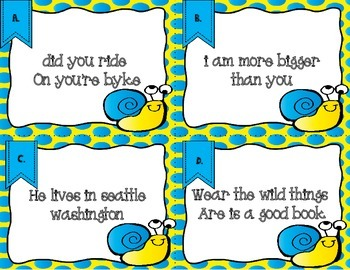 Correct the Crazy Sentences: Grammar Review Task Cards