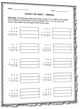 Correct the Math Worksheet (Addition)