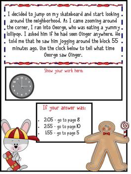 3rd Grade Word Problems - Mini-Math Mystery - Jogging Gingerbread Boy