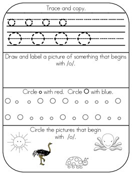 Corrected Oo page - Alphabet Morning Work