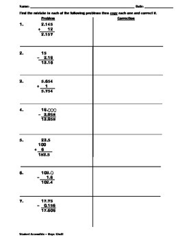 Correcting Common Mistakes in Adding and Subtracting Decimals Worksheet