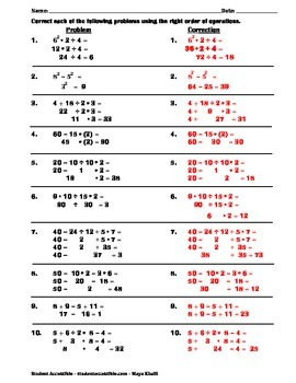 Correcting Common Mistakes in Order of Operations Worksheet