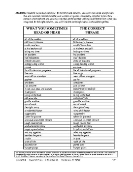 Writing Fun: Correcting Commonly Misused Words & Phrases (8 Pages, Ans. Key)