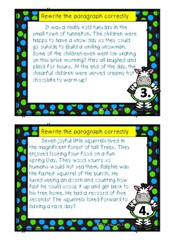 Correcting Paragraphs Task Cards- Proofreading