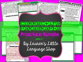 Correcting Paragraphs Activity Bundle