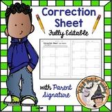 Correcting Problems Student Correction Sheet Printable Math Correct and Return