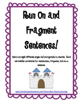 Correcting Run Ons, Fragments, and Capitalization in Sentences (Editting)